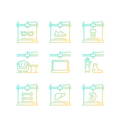 Additive manufacturing gradient linear icons set vector