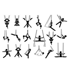aerial yoga icons depict a woman performing anti vector image