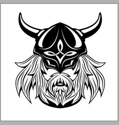 ancient viking head logo for mascot design vector image
