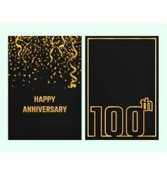 Anniversary outline card gold vector