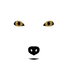 arctic fox muzzle silhouette wild animal emblem vector image