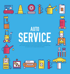 Auto service with text concept thin line icons vector