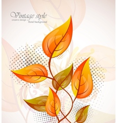 Background with orange leaves vector image