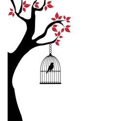 Bird cage red vector