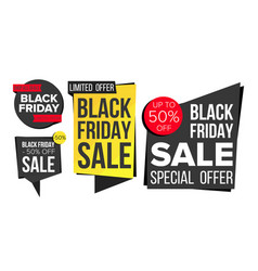 black friday sale banner set discount tag vector image