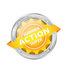bright sun button tag with summer supper action vector image