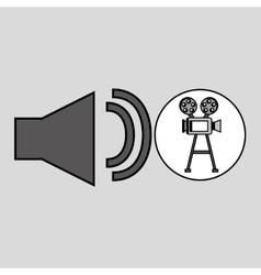 Camera film vintage with movie volume icon vector