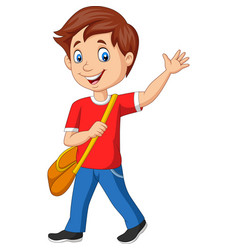 cartoon school boy with backpack and waving vector image