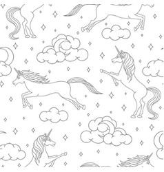 cartoon unicorn seamless pattern on white vector image