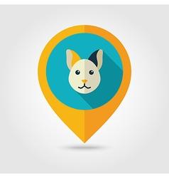 Cat flat pin map icon Animal head vector