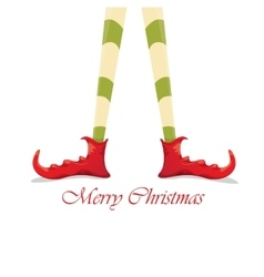 christmas cartoon elfs legs on white background vector image