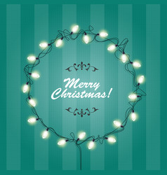 christmas lights wreath frame - round festive vector image