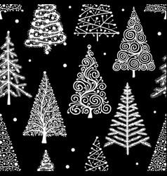 christmas trees seamless pattern for your design vector image