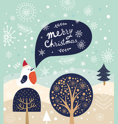 Christmas with bird and trees in cart vector