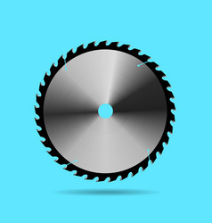 circular saw blade on blue background vector image