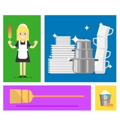 Cleaner on flat style vector image