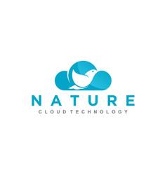 Cloud bird modern logo for internet or technology vector