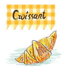 Croissant sketchy card vector image
