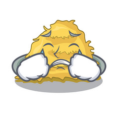 Crying hay bale mascot cartoon vector