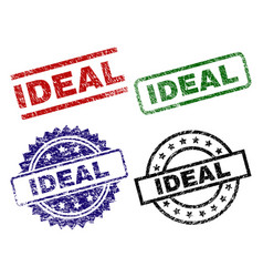 Damaged textured ideal stamp seals vector