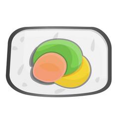 delicious sushi roll icon cartoon style vector image