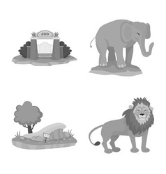 Design zoo and park icon set zoo and vector