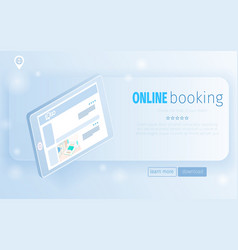 digital tablet computer with hotel rooms offers vector image
