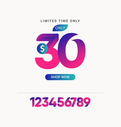 Discount 30 only limited time only shop now vector