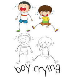 Doodle graphic of boy crying vector