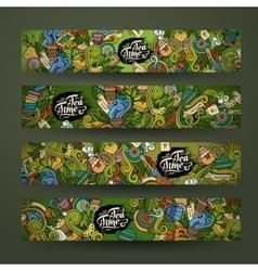 Doodles tea time design banners vector