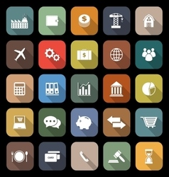 Economy flat icons with long shadow vector