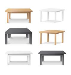 Empty table set wooden plastic white vector