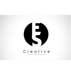 Es letter logo design inside a black circle vector