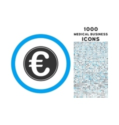 Euro Coin Rounded Icon with 1000 Bonus Icons vector image