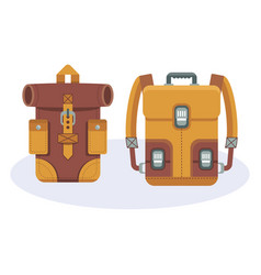 fashionable hipster leather backpacks vector image