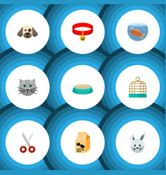 Flat icon animal set of fishbowl puppy bird vector