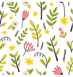 floral seamless pattern with spring blooming vector image