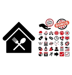Food Court Flat Icon with Bonus vector image