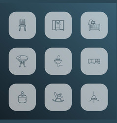 furniture icons line style set with dining chair vector image