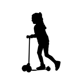 girl silhouettes roll a scooter vector image