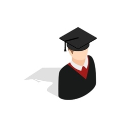 Graduate man in cap and gown icon vector
