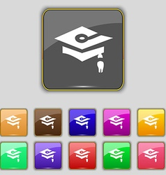 Graduation icon sign set with eleven colored vector