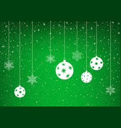 green winter background with snowflake vector image