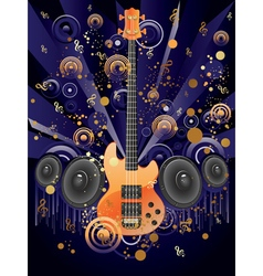 Grunge guitar and loudspeakers vector