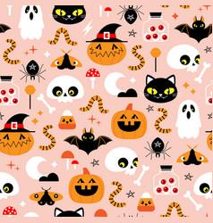Halloween scary cute cartoon pattern vector
