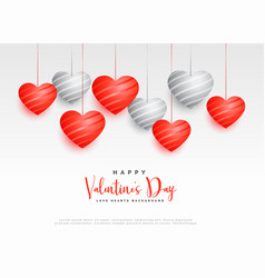 hanging red and white hearts beautiful background vector image