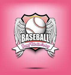 happy valentine day and baseball vector image