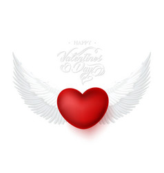 Heart with angel wings happy valentines day vector