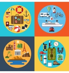 Icons set of traveling tourism hiking vector image