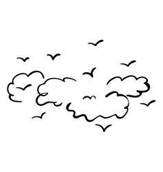 Isolated clouds and birds design vector